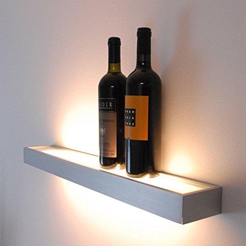 s.LUCE Cusa Leuchtregal LED 70cm Lichtboard Lampe Regal beleuchtet Wandleuchte Up&Down Alu-gebürstet Küchenregal Lichtregal LED-Regal
