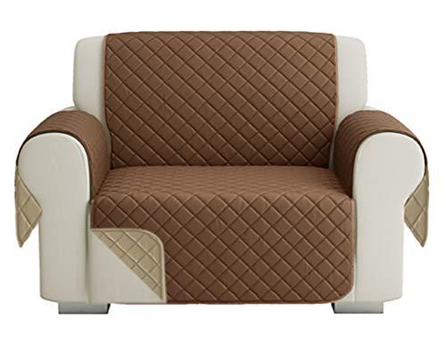 Fundas para Sofa Acolchado, Funda De Sofas 1 Plaza / Relax, Cubre Sofa Reversible Bicolor, Beige / Marrón