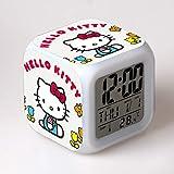 HHKX100822 Dibujos Animados Hellokitty Despertador Reloj Hello Kitty Reloj Katie Gato Colorido Despertador Reloj De Los Niños Regalo del Estudiante Decolorado Quad Reloj Un