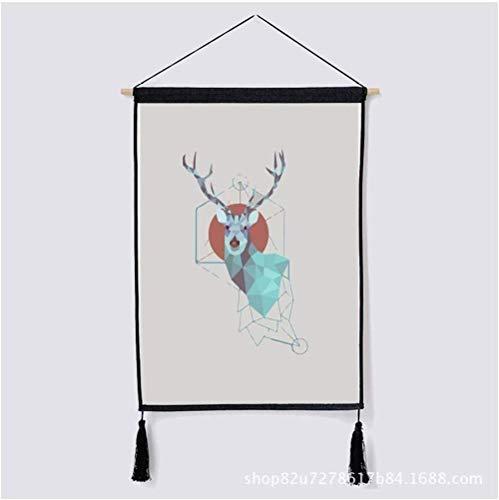 HUANGJING Nordic Elk dekorative Tapisserie Wandbehang Tuch Reis Box Cover Tuch Baumwolle und Leinen Kunst Malerei