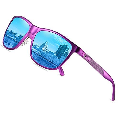 DUCO Gafas de sol rectangulares polarizadas con marco de metal polarizado, gafas de sol al aire libre para conducir 8200