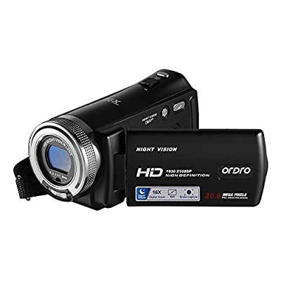 Ordro V12 Video Camera Camcorder Digital YouTube Vlogging Camera Recorder Full HD 1080P 15FPS 3.0 Inch 270 Degree Rotation LCD 16X Digital Zoom Camcorder with 2 Batteries from BOYA