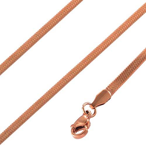 (N) ピンクゴールドフラット喜平ネックレスチェーン (太さ:1mm) 50cm レディース ローズゴールド 首輪 サージカルステンレス 316L スリム 細い 細め 喜平チェーン シンプル