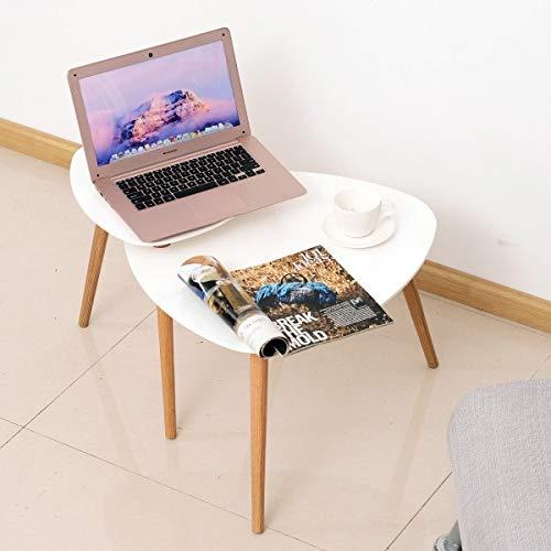 Diasdaisda Couchtisch, Beistelltisch Kleiner Tisch Telefontisch Couchtisch Holz Weiß + Natur 75,5 X 59,5 X 45,5 cm, Geeignet Für Das Häusliche Leben, Wohnzimmer, Schlafzimmer, Möbel Möbel
