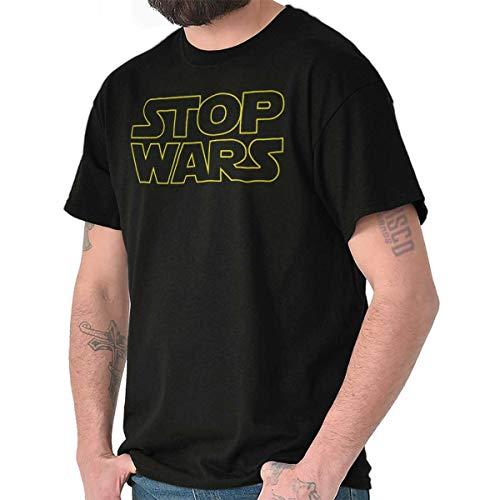 Brisco Brands Stop Space Logo Funny Peace Protest Parody T Shirt Tee Black
