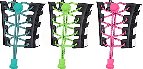 Ducomi ElasticShoes Lacci Elastici Scarpe per Bambini e Adulti - Veloci, Riflettenti e Autobloccanti - Funzionali Lacci per Marathon, Triathlon Atleti e Anziani - 3 Paia (Random Colors)