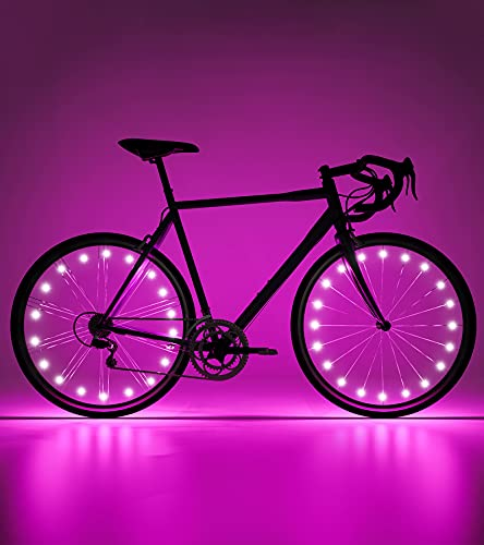 IGYLAR Rechargeable Bike Wheel Lights 2 Tire Pack, with 2 Extra Night Refletive Bands, IPX5 Waterproof, Suitable Gift for Kids, Adults- Bright Pink Color