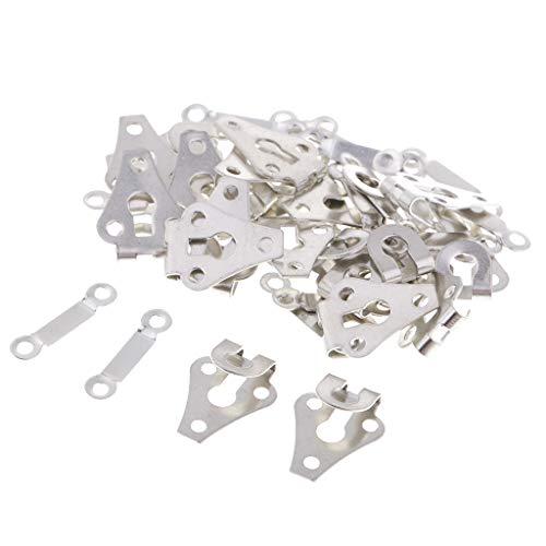 perfk 20 Sets Metallhaken Hosenhaken Ösen zum annähen Hosen Näharbeit Hakenknöpfe DIY - Silber