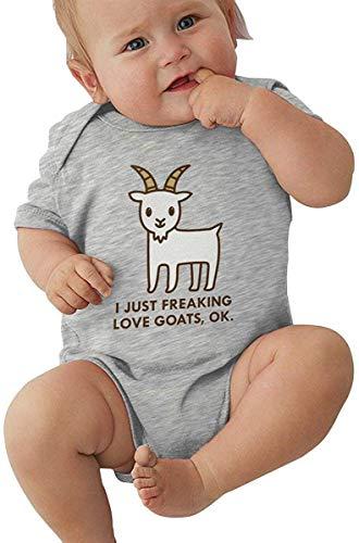 Huijiaoo Bébés Filles garçons Classiques à Manches Courtes bébé Body bébé J'aime Les chèvres Baby Shower Apparel