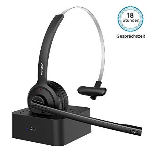 Mpow Bluetooth Headset,180 Stdn. Wireless Headset mit Ladestation, Drahtloses Leicht-Headset Rauschunterdrückung Funk-Headset mit Mikrofon, Bluetooth Headset für Skype,Call Center,Home Office