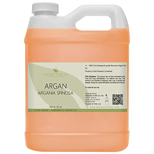 Moroccan Argan Oil - 100% Pure Unrefined Extra Virgin Cold Pressed Non GMO Bulk 32 oz - 1 Quart Carrier Oil for Hair Skin Face Body Nails Locs Lashes Facial Hair Beard & More Hydrating Argon- OPO
