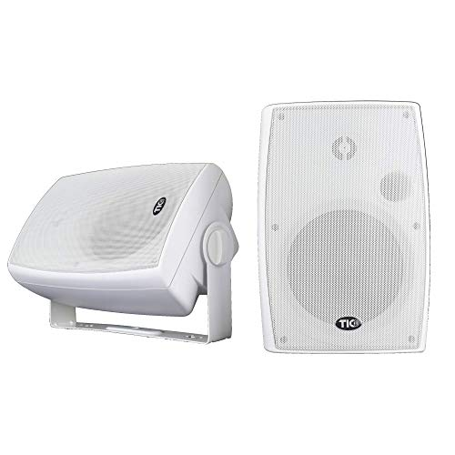 """TIC ASP120-W 6.5"""" Weather-Resistant Outdoor Patio Speakers with 70v Switch (Pair) - White …"""