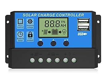 EEEKit 20A Solar Charge Controller Solar Panel Battery Intelligent Regulator with Dual USB Port 12V/24V PWM Auto Paremeter Adjustable LCD Display(Blue)