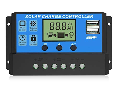 EEEKit 30A Solar Charge Controller, Solar Panel Charger Controller 12V/24V, Multi-Function Adjustable LCD Display with Dual USB Port Timer Setting PWM Auto Parameter