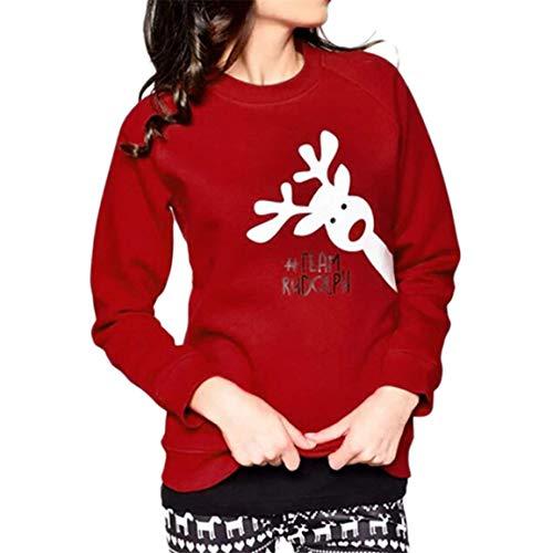 Huixin Famille Noël Porter Ensembles Maman Y Moi Correspondant Vêtements T Shirt De Mode À Manches Longues Bébé Mignon Complet À Manches Cerfs Imprimer Haut Blouse Moonuy (Color : Mama, Size : XL)