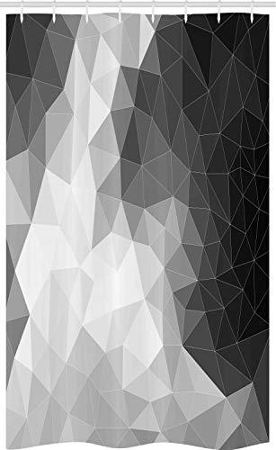 ABAKUHAUS Schwarz & Grau Schmaler Duschvorhang, Polygon-Dreieck, Badezimmer Deko Set aus Stoff mit Haken, 120 x 180 cm, Hellgrau Schwarz
