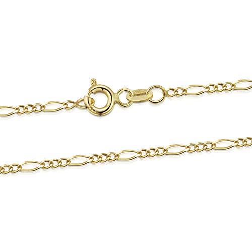 Amberta Joyería Collar en Oro Amarillo 9K - Cadena Fígaro 1.4 mm - Gargantilla Ajustable de 46 a 51 cm