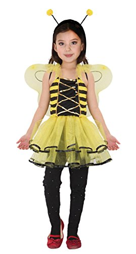 Y-BOA Fille Costume Déguisement Carnaval Bandeau Halloween Abeille Robe Jaune Enfant Animal 4-6ans