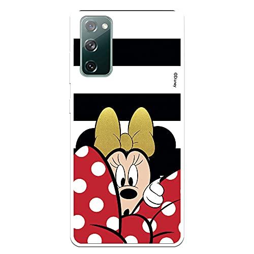 Custodia per Samsung Galaxy S20 FE Ufficiale Disney Minnie sfondo righe bianco e nero per proteggere il tuo cellulare Cover per Samsung con licenza ufficiale Disney.