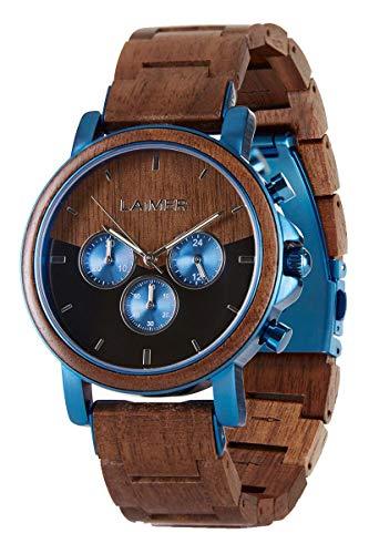 orologio polso legno LAiMER orologio in legno di noce - IVO - orologio da polso cronografo Uomo - analogico
