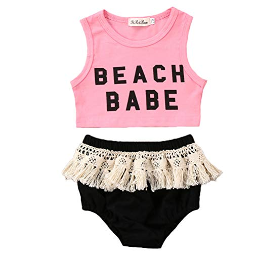 Infant Toddler Baby Girl Beach Babe Top and Tassel Shorts Pants 2 Piece Sunsuit Playwear Outfits (Pink, 70 (6-12 Months))