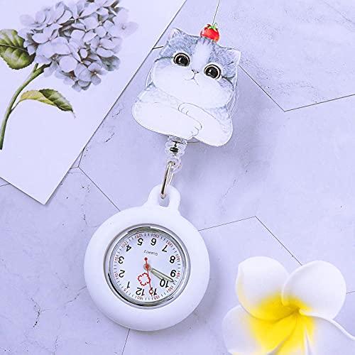 LLRR Relojes Bolsillo Números arábigos,Gusano escalable Luminoso de Silicona, Broche de Examen de Estudiante table-2055,Mujeres médico Enfermeras Reloj