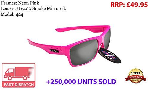 Rayzor Lunettes léger UV400 Rose Sports Wrap Course Lunettes de Soleil, avec Une fumée Miroir Anti-éblouissement Objectif