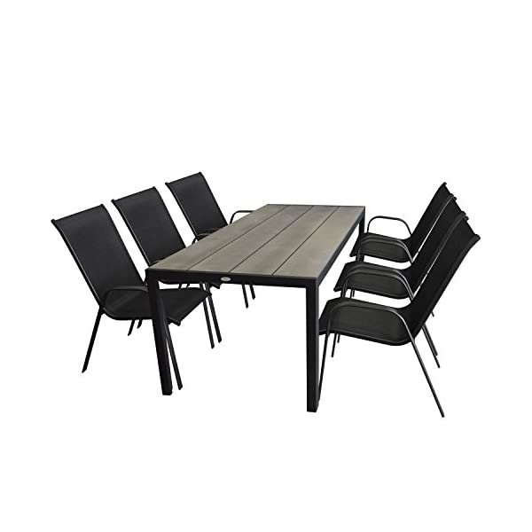 Multistore 2002 7tlg. Gartenmöbel-Set Gartentisch, Aluminium, Tischplatte Polywood, 205x90cm + 6X Stapelstuhl…