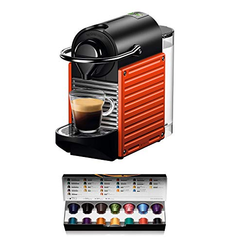 Krups Pixie XN3045 - Cafetera monodosis de cápsulas Nespresso, 19 bares, apagado automático, color rojo naranja