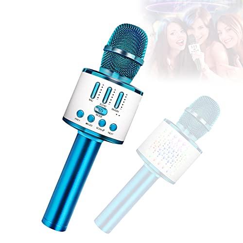 Mikrofone für Kinder Drahtloses Bluetooth-Mikrofon, tragbares Handheld-Spielzeug-Karaoke-Mikrofon-Lautsprecher, Home-KTV-Player mit Aufnahmefunktion, kompatibel mit Android-iOS-Geräten. (pink) (Blue)
