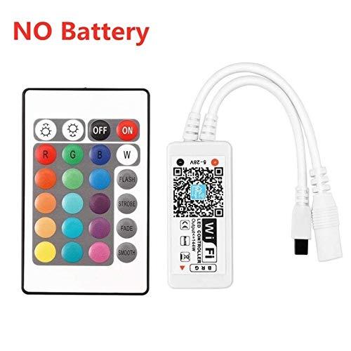 QHY 5050 RGB LED Strip Control de teléfono La cinta WiFi inalámbrica funciona con Amazon Alexa Google Home IFFFT DC 12V Tira flexible + Potencia 15M 24key IR wifi