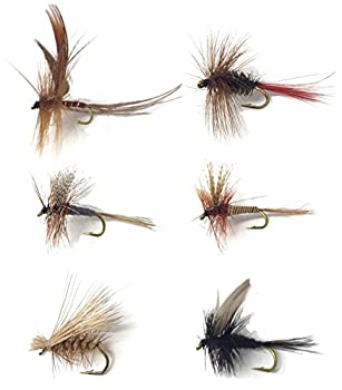Feeder Creek Fly Fishing Trout Flies - Popular MAYFLIES - 18 Flies - 6 Patterns  3 of Each Size and Pattern  Red Quill Elk Caddis Brown Brown Hackle Black Gnat Grey Fox Drake - Sizes 14-16