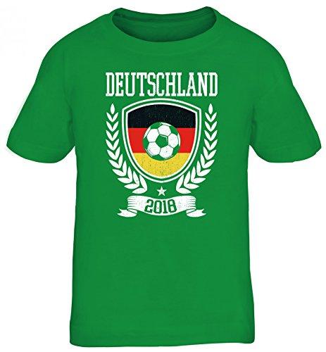Germany Fußball WM Fanfest Gruppen Fan Kinder T-Shirt Rundhals Mädchen Jungen Pokal Deutschland 2018, Größe: 152/164,Kelly Green