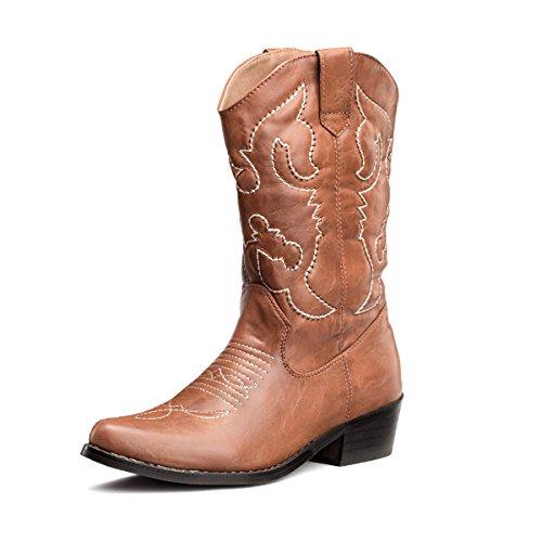 SheSole Damen Cowboy-Stiefel aus Leder - gefütterte Westernstiefel für Damen, hochwertige Damen-Boots mit breiter Schuhform, Bräunen, 42 EU