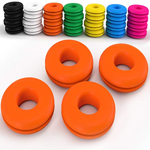 Z Best Tennis Vibration Dampeners - Reduce String Rattle and Elbow Pain - Shock Absorbing Set - Great for Racquetball, Squash, Badminton - 4 Pack (Orange)
