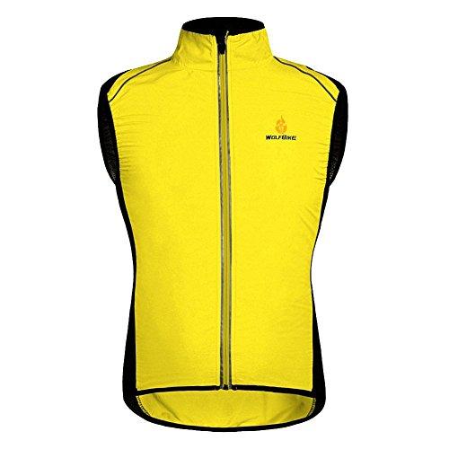 Fancybox WOLFBIKE - Chaleco de ciclismo para hombre, cortavientos, chaqueta cortavientos, ropa deportiva al aire libre (amarillo, XL)