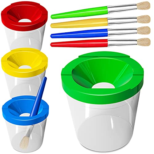Spill Proof Paint Cups for Kids, 4 Pieces No Spill Paint Cups with Lids and Paint Brushes in 4 Colors for Washable Paint, Acrylic Paint