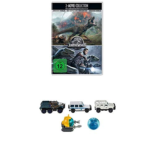 Mattel Matchbox FMX40 - Jurassic World Die-Cast Fahrzeug, sortiert, 5er-Pack + Jurassic World 2-Movie Collection [3 DVDs]