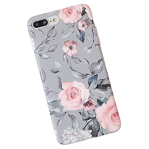 iPhone 8 Plus / 7 Plus Case for Girls, YeLoveHaw Flexible Soft Slim Fit Full-Around Protective Cute Phone Case Cover with Purple Floral and Gray Leaves Pattern for iPhone 7Plus / 8Plus (Pink Flowers)