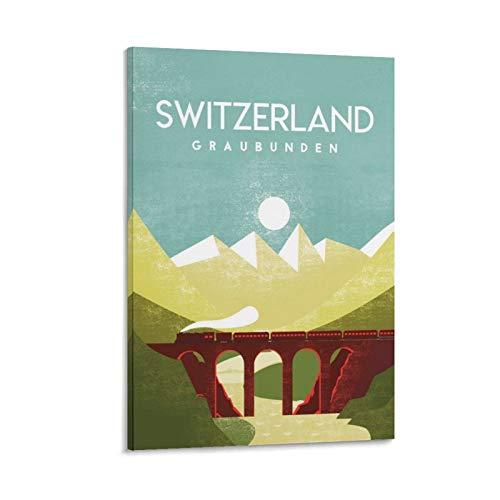 Schweiz Reiseposter auf Leinwand, Heimdekoration, Retro-/Vintage-Stil, für Wohnzimmer, ästhetisch, 60 x 90 cm