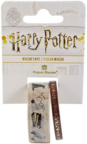 Paper House Productions Harry Potter Icons Set of 2 Foil Accent Washi Tape Rolls for Scrapbooking and Crafts
