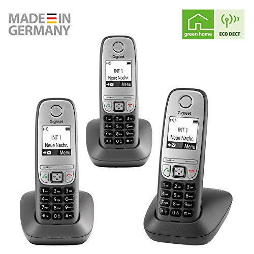 Gigaset Comfort Trio – 3 schnurlose Telefone für Büro und Zuhause mit großem Display und Freisprechfunktion – einfache Bedienung, anthrazit-grau