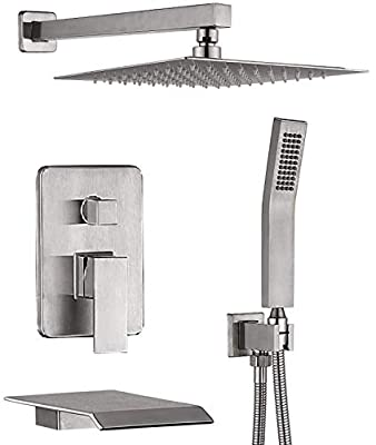 CHING Shower System Brushed Nickel Wall Mounted Shower Faucet Set with Waterfall Tub Spout and 10 Inch Rain Shower Head Rain Mixer Shower Faucet Combo Set All Metal (Brushed Nickel 10 Inch)
