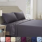 Abakan Bed Sheet Set 4 Piece Super Soft Brushed Microfiber 1800 Thread Count Hotel Luxury Egyptian Sheet Breathable, Wrinkle, Fade Resistant Deep Pocket Bedding Sheet Set