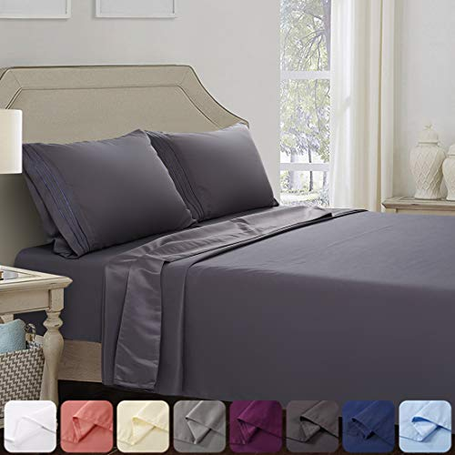 Abakan Queen Bed Sheet Set Super Soft 120GSM Silky Smooth Microfiber 1800TC Hotel Luxury Premium Cooling Sheet Breathable, Wrinkle, Fade Resistant Deep Pocket - 4 Piece (Queen, Dark Grey)