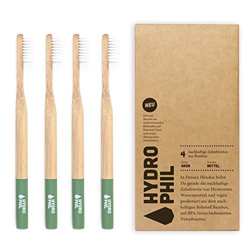 HYDROPHIL Nachhaltige Zahnbürste aus Bambus - Grün - 4er Pack - Borsten mittelweich im Recycling Karton - aus 100% nachwachsenden Rohstoffen – BPA-frei – erdölfrei - Vorratspack