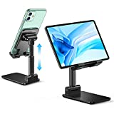 Comsoon Phone Stand, Tablet Stand, Height Adjustable Fully Foldable Cradle Dock, Phone Holder Compatible with iPhone SE/11/11Pro Max/XS/X/XR/8/7, Samsung, Huawei, iPad and Devices Under 11 Inches