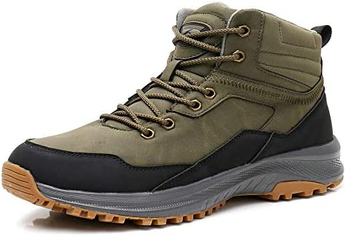 UPSOLO Mens Winter Trekking Snow Boots Water Resistant Shoes Anti-Slip Fully Fur