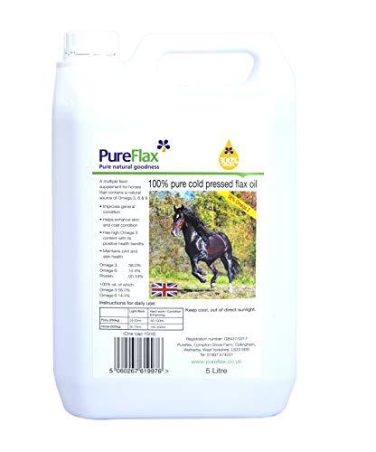 Pureflax - 100% Pure PresséÀ Froid Lin Huile pour les chevaux x 5 Lt