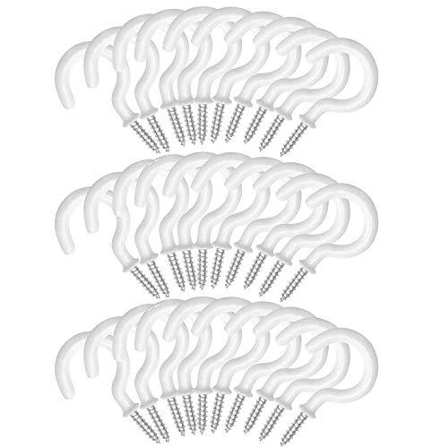 Cup Haken Becher Haken Metall Pflanzen Werkzeuge Haken Deckenhaken Aus Metall Becherhaken 30 StüCk 2,8-Zoll-Schraubhaken Umweltfreundliche Kunststoffbeschichtete Becherhaken FüR AußEnbereich (Weiß)